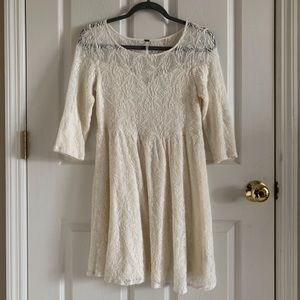 Free People Lace White Long Sleeve Dress Size S